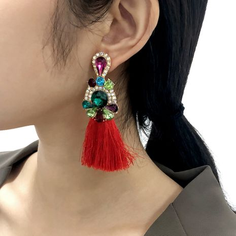 Bohemian long tassel imitation diamond earrings NHMD281967's discount tags