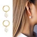 Retro Freshwater Pearl Circle Titanium Steel Earrings NHOK282047