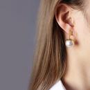 Imitation Pearl Petal Titanium Steel Earrings NHOK282049