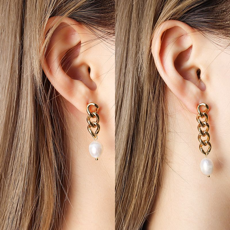 titanium steel pearl asymmetric earrings  NHOK282090