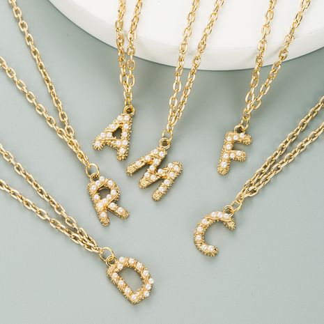 New  Colored Gemstone  Copper Plated Real Gold 26 English Letter necklace  NHLN282129's discount tags