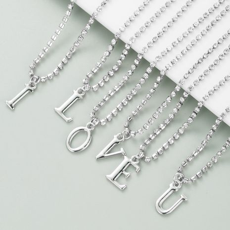 New Alloy Claw Chain Silver Pendant 26 English Letters necklace  NHLN282132's discount tags