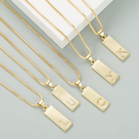 fashion  micro-inlaid zircon  26 English letters  heart-shaped necklace NHLN282133's discount tags