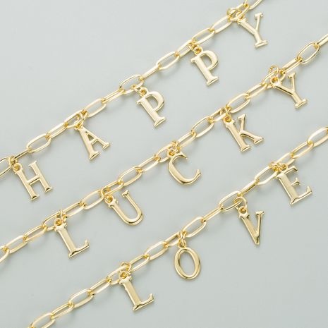 New  Colored Gemstone  Copper Plated Real Gold 26 English Letter necklace  NHLN282134's discount tags