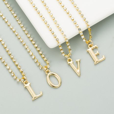 silver galaxy alloy claw chain 26 English letter necklace NHLN282135's discount tags