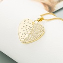 copper plated 18K gold microinlaid zircon heartshaped necklace  NHLN282136