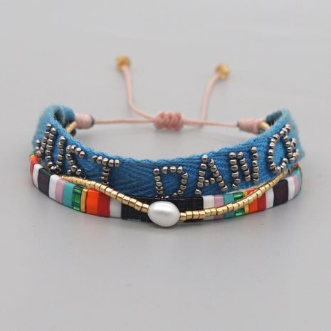 Bohemian retro ribbon beaded letter bracelet  NHGW282142's discount tags