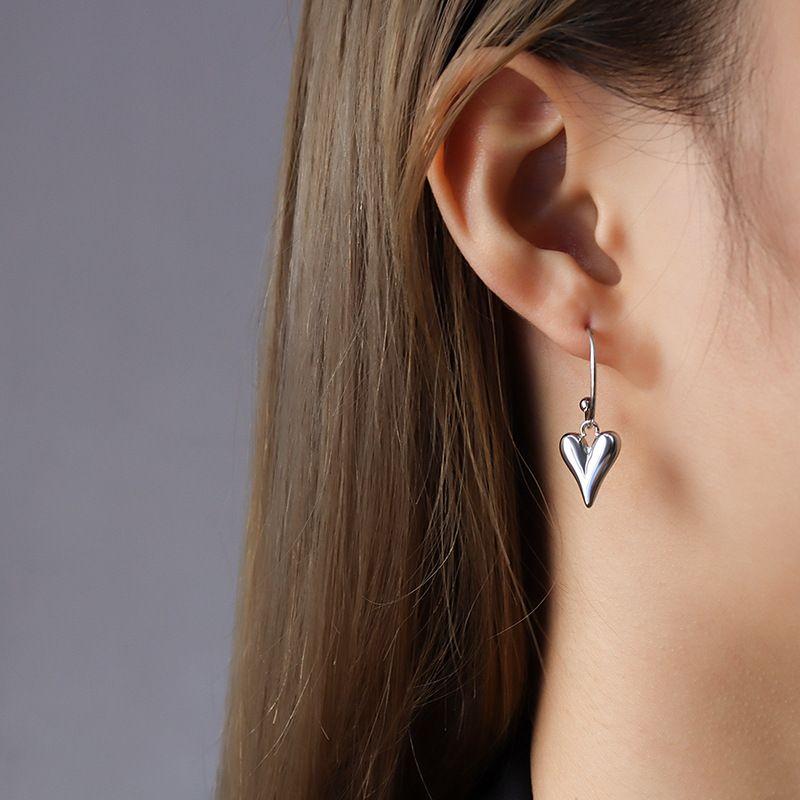 fashion heart pendant titanium steel earrings NHOK281982