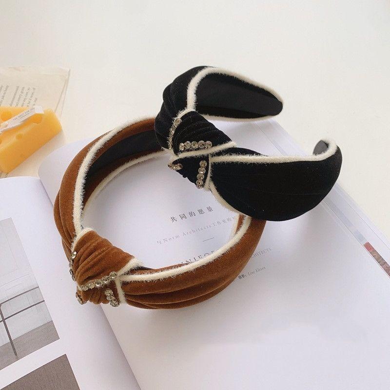 retro velvet diamond knotted widebrimmed headband  NHSM282016