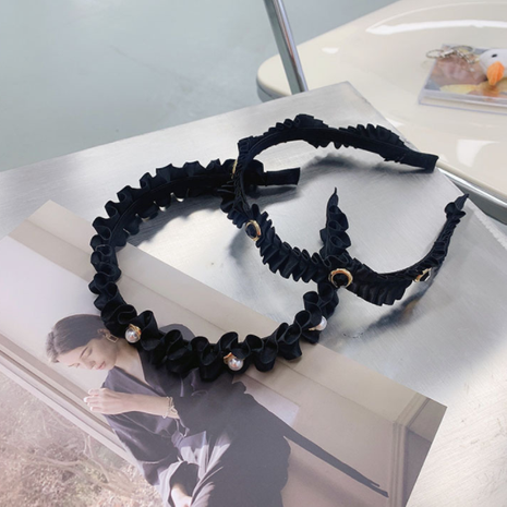 retro fold pearl black fabric headband NHSM282007's discount tags
