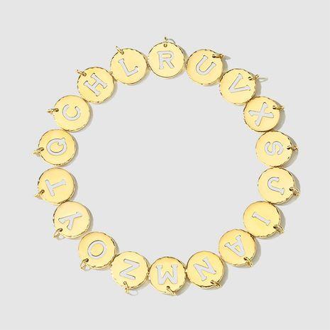 wholesale 316L titanium steel drip oil letter necklace accessories NHTF282181's discount tags