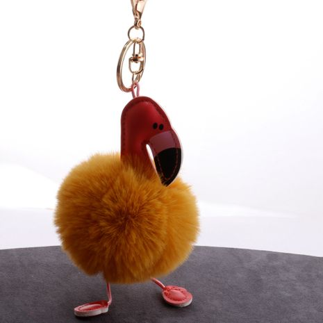 PU leather red mouth flamingo fur ball keychain  NHDI282198's discount tags
