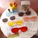 oval simple retro brown sunglasses NHBA282204