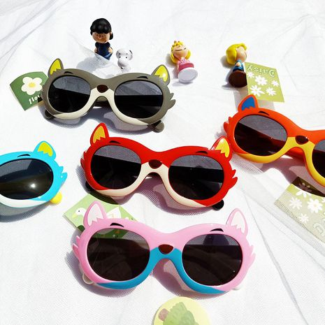 Cartoon little fox children's silicone anti-ultraviolet sunglasses NHBA282219's discount tags