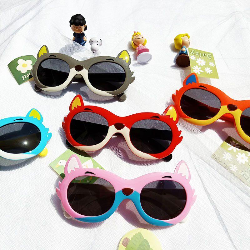 Cartoon little fox childrens silicone antiultraviolet sunglasses NHBA282219
