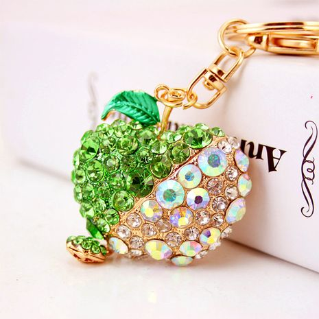 Fashion cute diamond-studded apple keychain  NHAK282230's discount tags