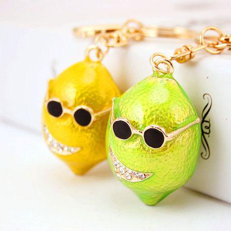 Creative cute glasses green lemon keychain  NHAK282237's discount tags