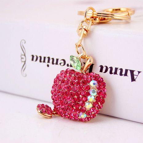 cute diamond-studded small apple keychain  NHAK282239's discount tags