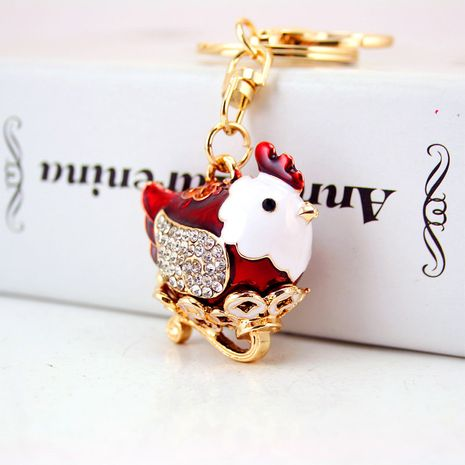 lindo llavero con colgante de metal de pollo del zodiaco de diamantes NHAK282255's discount tags