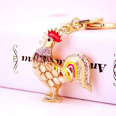 Creative cute diamond opal zodiac chicken keychain  NHAK282260's discount tags