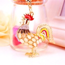 Creative cute diamond opal zodiac chicken keychain  NHAK282260