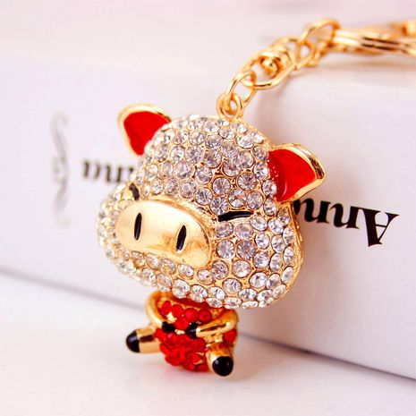 Lindo llavero de cerdito de dibujos animados de diamantes NHAK282263's discount tags
