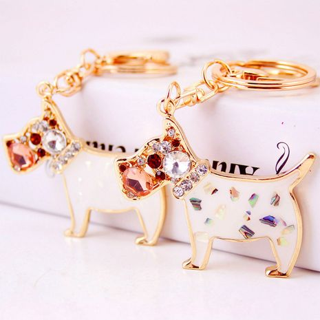 cute diamond crystal poodle puppy keychain  NHAK282274's discount tags