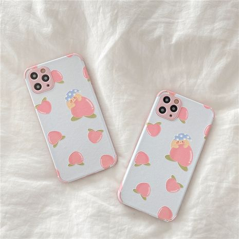 Coque de téléphone portable pêche rose fraîche de dessin animé mignon pour iPhone12mini 11pro Apple SE2 Soft Shell XR NHFI282324's discount tags