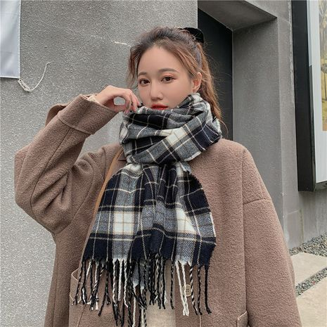 thick plaid imitation cashmere long scarf NHCM282365's discount tags