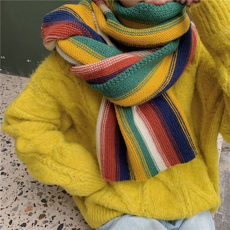 Colorful sweet wool knitted soft scarf NHCM282367's discount tags