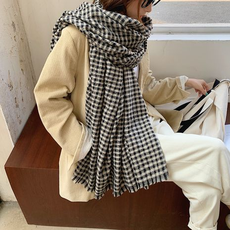 Plaid imitation cashmere thick warm scarf NHCM282372's discount tags