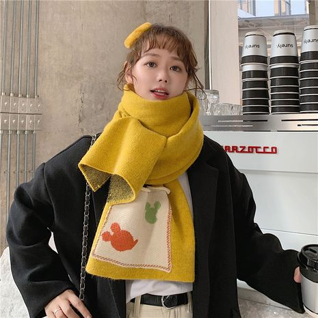 cute long knit pocket thick woolen scarf NHCM282375's discount tags
