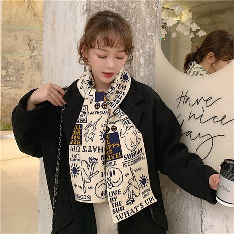 cartoon double-sided knitted scarf NHCM282376's discount tags