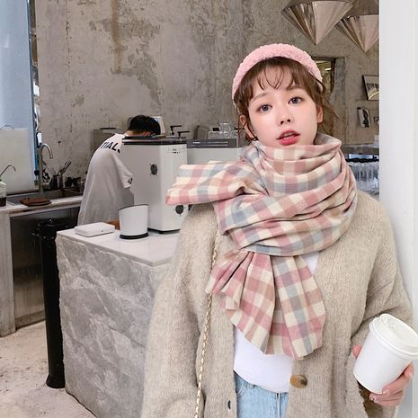 long pink retro plaid scarf  NHCM282377's discount tags