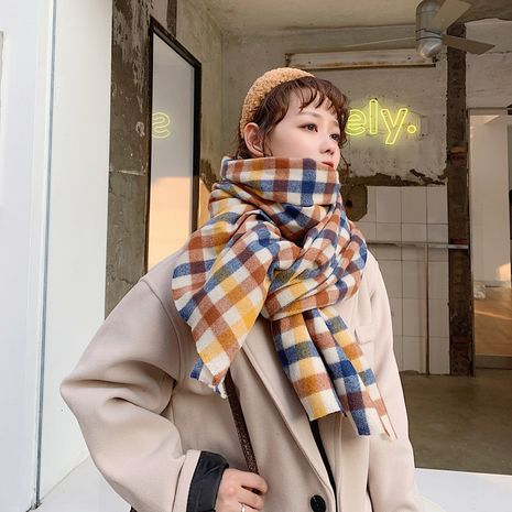 long pink retro plaid scarf NHCM282378's discount tags