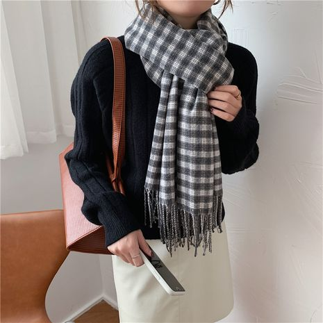 retro color matching plaid scarf  NHCM282380's discount tags