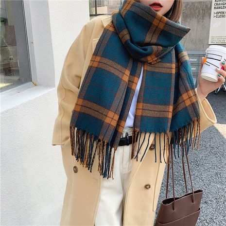 imitation cashmere thickened long plaid scarf NHCM282381's discount tags