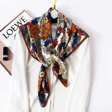 foulard en soie à la mode carrée à fleurs rétro NHCJ282392's discount tags
