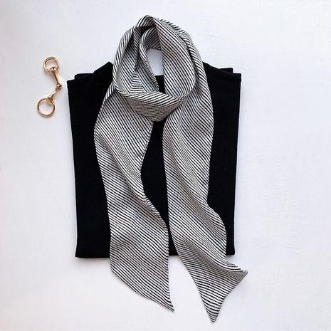 écharpe longue en soie à rayures NHCJ282401's discount tags
