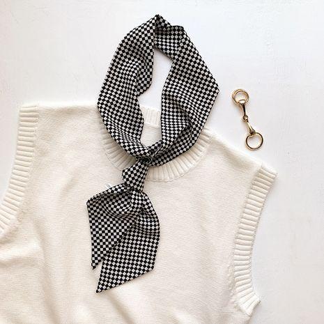 plaid print retro fashion silk scarf  NHCJ282406's discount tags