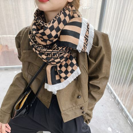 letter plaid double-sided color matching cashmere thick scarf  NHCJ282413's discount tags
