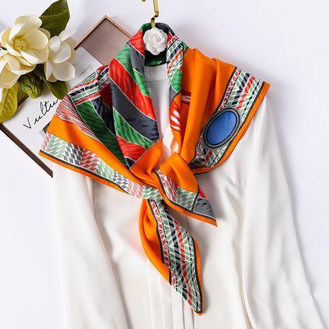 foulard en soie à imprimé totem de couleur assortie NHCJ282417's discount tags