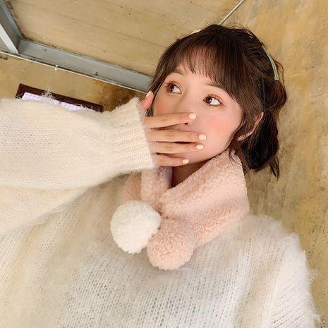 Cordero de color puro coreano abajo bufanda de bebé de felpa cruz linda bufanda de bola doble cálida NHCM282471's discount tags