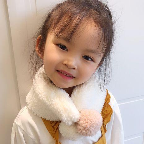 Cordero de color puro coreano abajo felpa babero cruz linda cálida bufanda de bola doble NHCM282473's discount tags