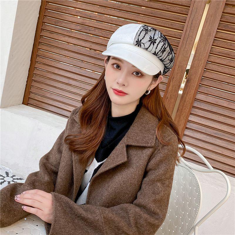 New octagonal hat pu leather black beret  NHCM282520