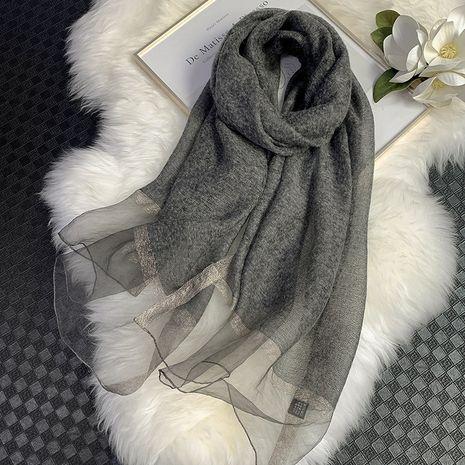 écharpe longue en soie élégante en laine NHCJ282573's discount tags