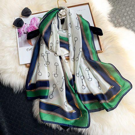 écharpe longue en soie imprimée NHCJ282576's discount tags