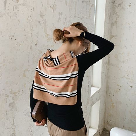 knitted striped fashion scarf NHCJ282578's discount tags