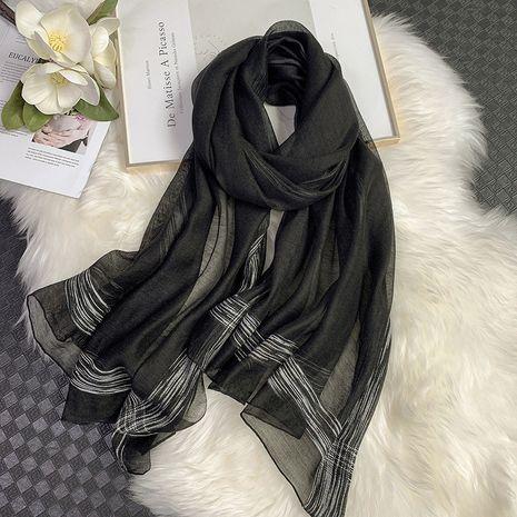 écharpe en soie pure couleur argentée NHCJ282580's discount tags