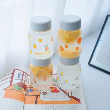 Fashionable glass cute fruit printing frosted water cup NHtn282594's discount tags